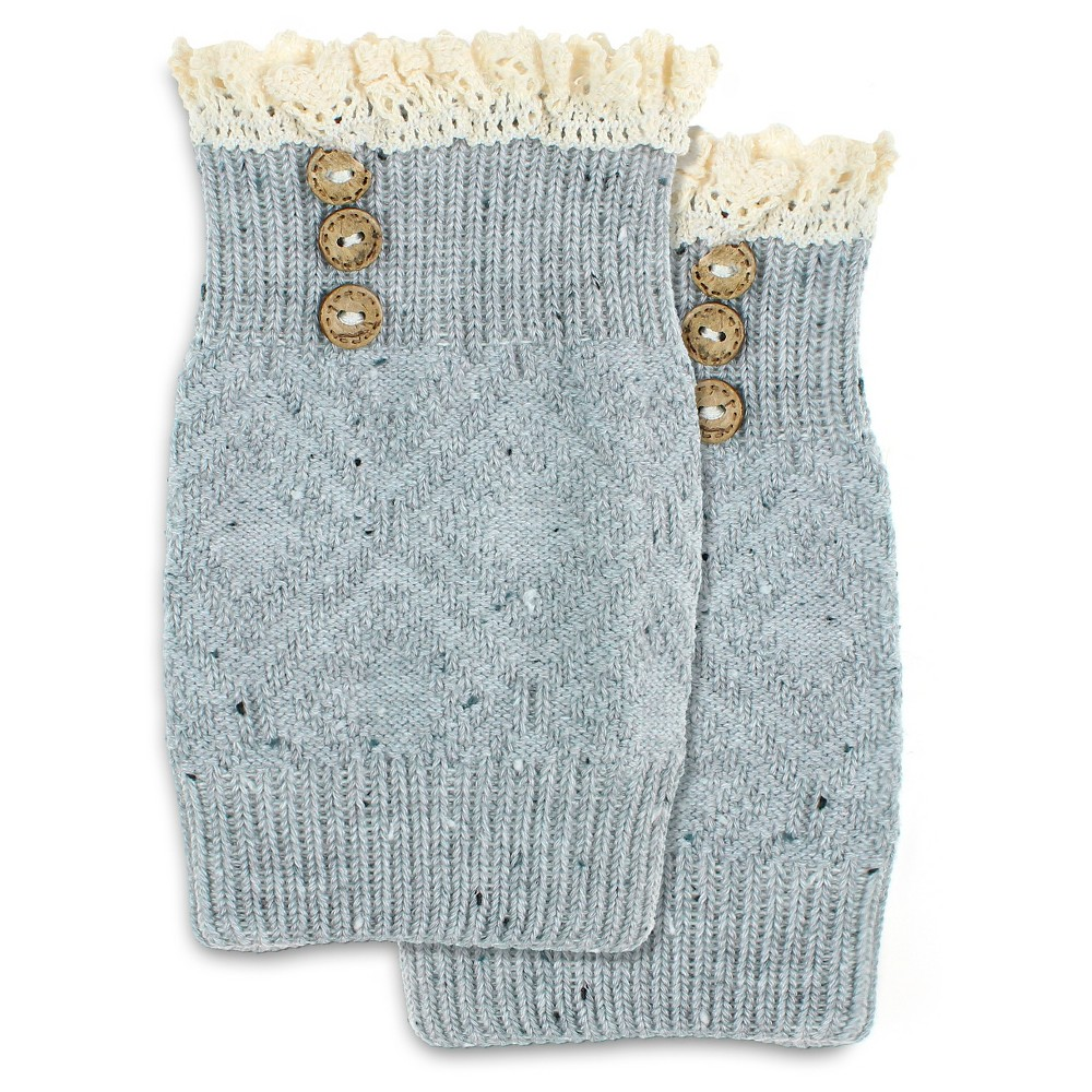 Charlotte Womens Crochet Trim Nep Boot Cuff with Wood Buttons - Marble Gray One Size