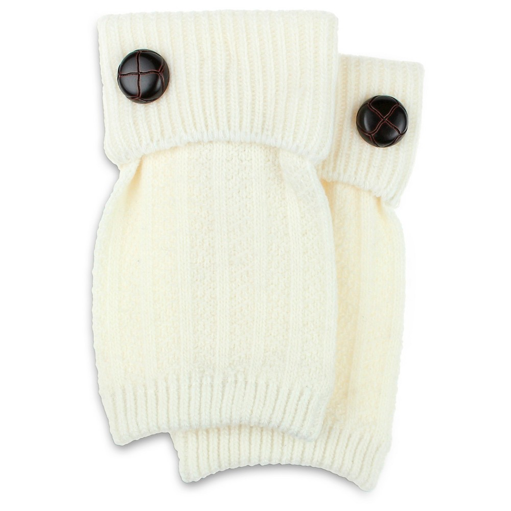 Charlotte Womens Basket Stitch Boot Cuff with Button - Ivory One Size