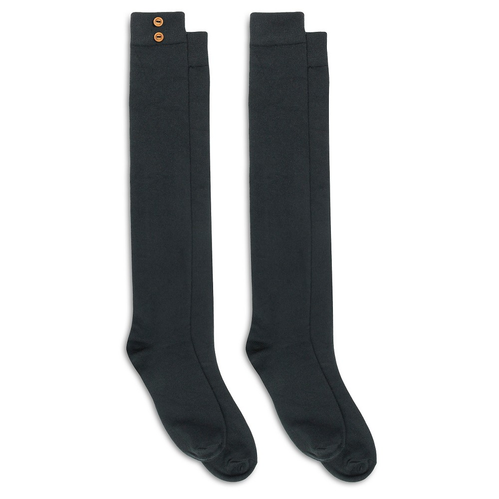 Charlotte Womens 2 Pack Super Soft Over the Knee Sock with Buttons - Black One Size