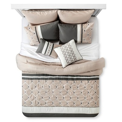 Weston Geometric Comforter Set (Queen)8-Piece - Gray& Beige