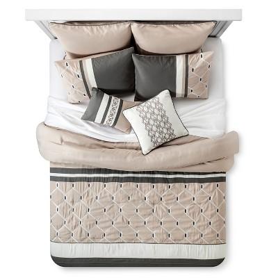 Weston Geometric Comforter Set (Queen)8-Piece - Gray& Beige