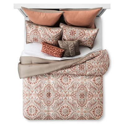 Coral & Khaki Tara Blush Tile Print Comforter Set (Queen)- 8 Piece