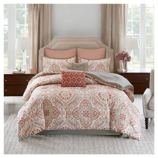 Coral Amp Khaki Tara Blush Tile Print Comforter Set 8