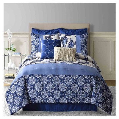 Paisley Faux Linen Comforter Set (King)8-Piece - Navy