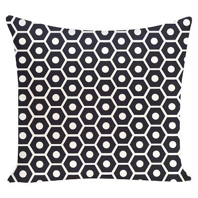 Navy Honeycomb Pop Geometric Print Throw Pillow (16 x16 )- E By Design