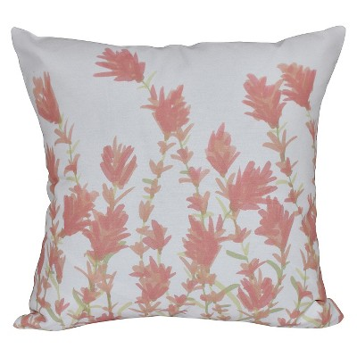 Coral Floral Print Throw Pillow (16 x16 )- E By Design
