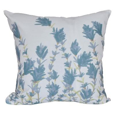 Teal Floral Print Throw Pillow (16 x16 )- E By Design