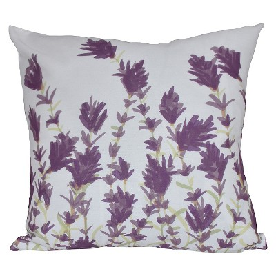 Purple Floral Print Throw Pillow (16 x16 )- E By Design