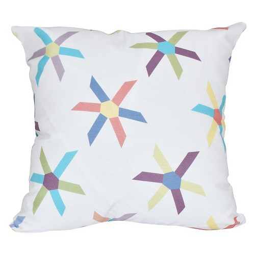 'Turquoise Pinwheel Pop Geometric Print Throw Pillow Turquoise (16''x16'') - E By Design'