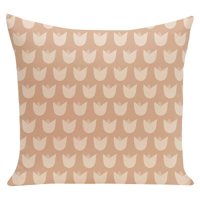 Taupe Brown Tulips Floral Print Throw Pillow & (16 x16 )- E By Design