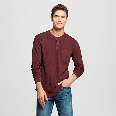865ad5956df Mens Long Sleeve Washed Henley Red M – Mossimo Supply Co.™ – Target ...