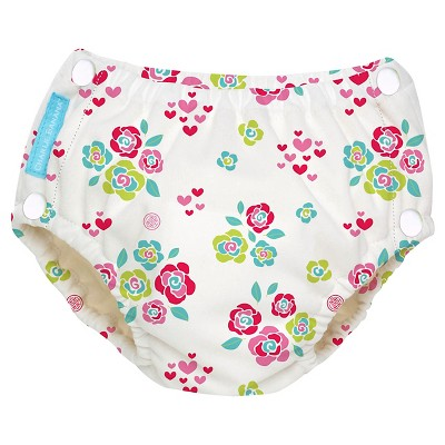 Charlie Banana Reusable Easy Snaps Swim Diaper, Floralie, L