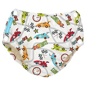 Charlie Banana Reusable Easy Snaps Swim Diaper, Racecar - M, Multicolored