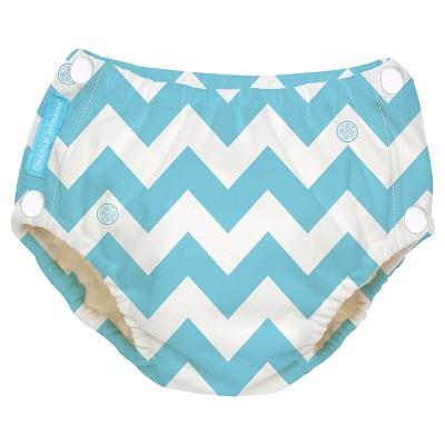 Charlie Banana Reusable Easy Snaps Swim Diaper, Blue Chevron, M