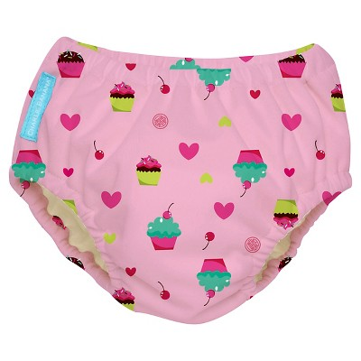 Charlie Banana Reusable Swim Diaper, Pink Cupcake, M