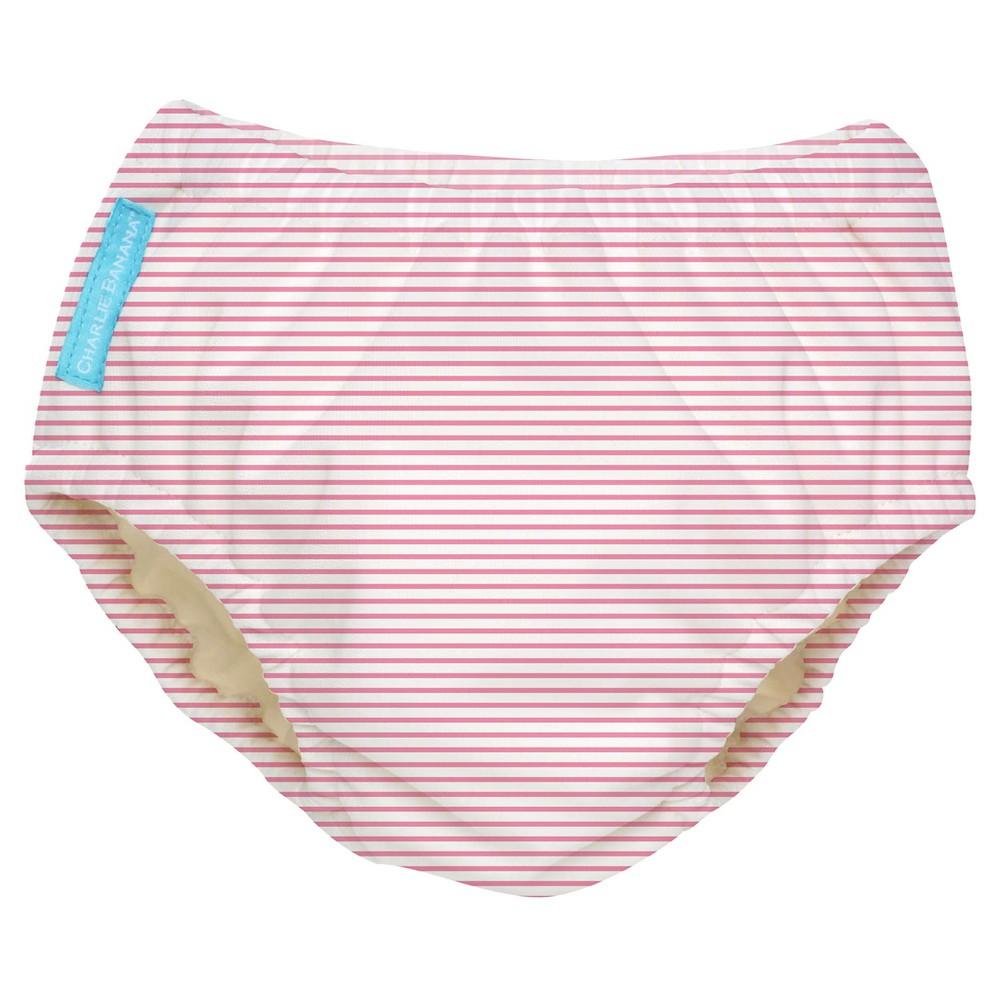 Charlie Banana Reusable Swim Diaper, Pink Stripe - XL, Mu...