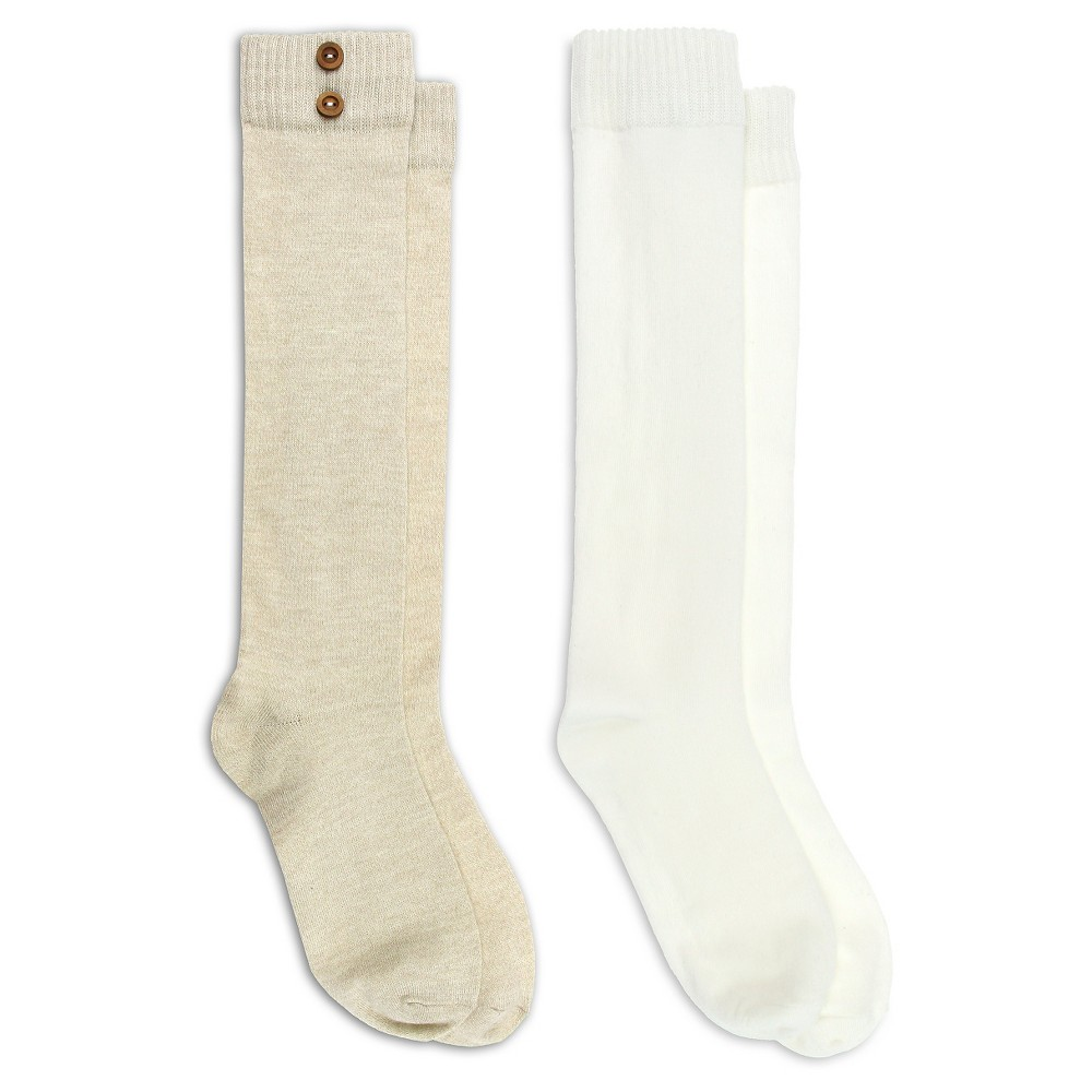 Charlotte Womens 2 Pack Marled Knee High Socks with Wood Buttons - Natural One Size