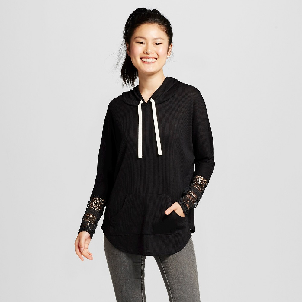 Women's Crochet Sleeve Hooded Sweatshirt Black M - Miss Chievous (Juniors')