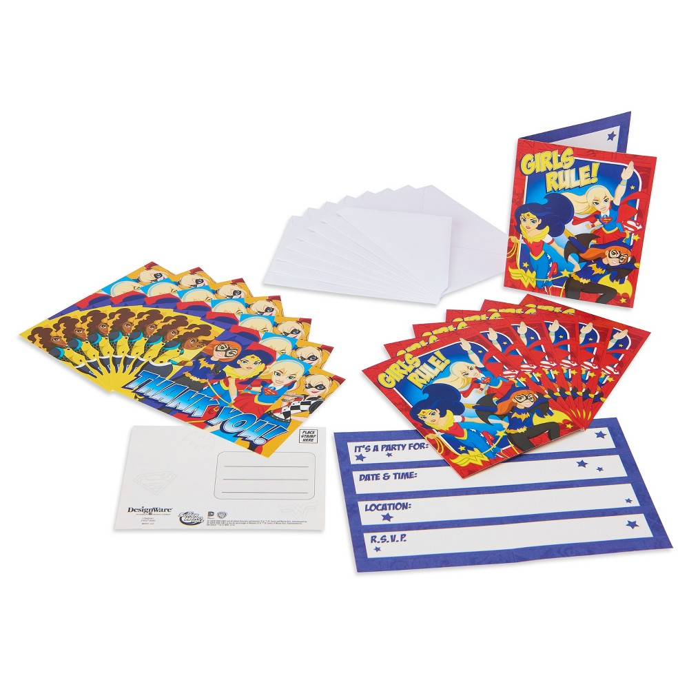16 ct DC Comics - Girls Rule Invitation & Thank you Card Pack