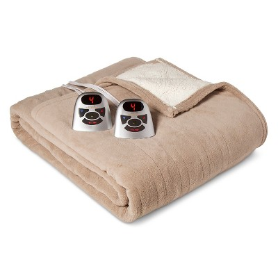 Electric Microplush with Sherpa Blanket Queen Taupe - Biddeford