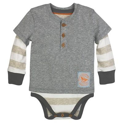 Burt's Bees Baby™ Boys' Henley Bodysuit - Heather Gray 6-9M
