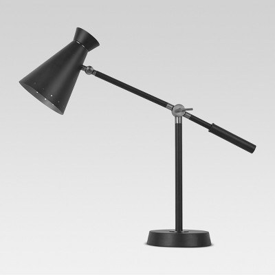 Brass Lined Mid Century Collection Desk Lamp (Includes CFL Bulb)Black - Threshold™
