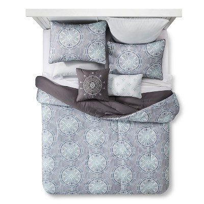 Folk Medallion Comforter Set (Queen)8pc - Gray