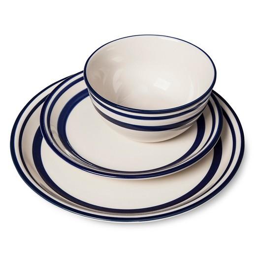 Fremont 12pc Dinnerware Set White Beekman 1802 FarmHouse Tar