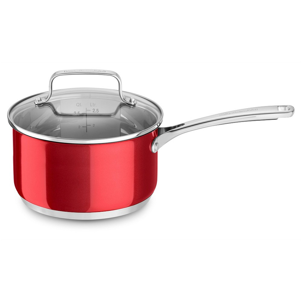 KitchenAid 3 Quart Stainless Steel Saucepan with Lid - KC2S30PL, Red Find Bakeware and Cookware at Target.com! You'll use this reliable saucepan time after time for everything from cooking sauces or rice to reheating soup or chili. The domed tempered glass lid seals in moisture and lets you monitor your cooking at a glance. Color: Red.