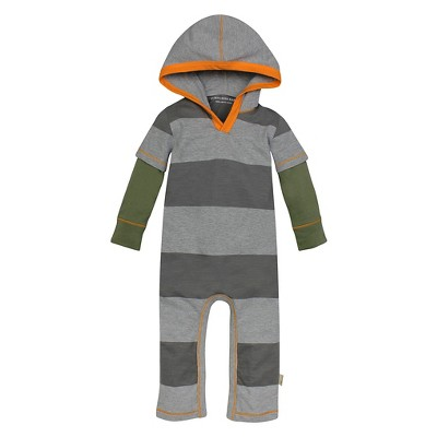 Burt's Bees Baby™ Boys' Hooded Rugby Stripe Coverall - Dark Gray 0-3M