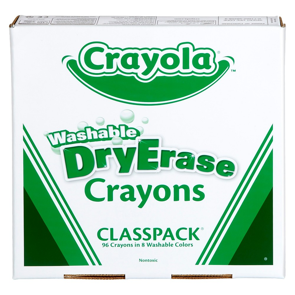 Crayola Classpack Dry Erase Crayons Washable 96ct 8 colors, Multi-Colored