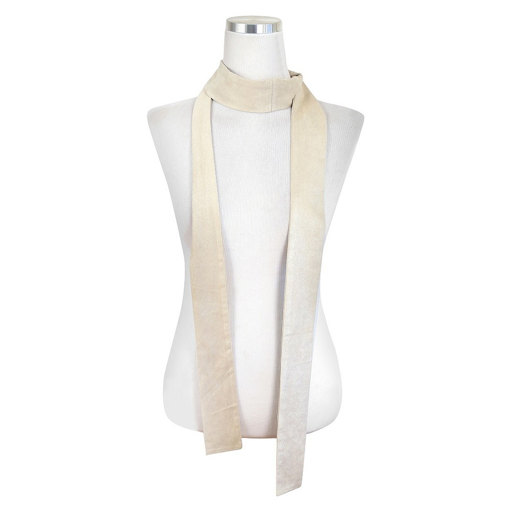 Womens Faux Suede Skinny Scarf Ivory