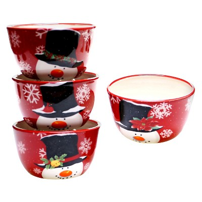 Certified International Top Hat Snowman Ceramic Bowl 22oz Red - Set of 4