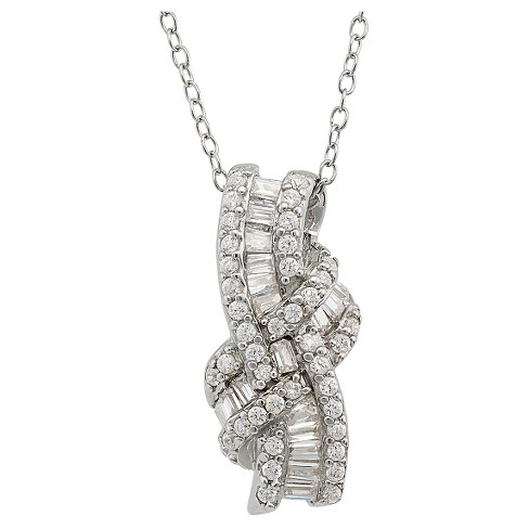 Cubic Zirconia Knot Pendant In Sterling Silver - image 1 of 1