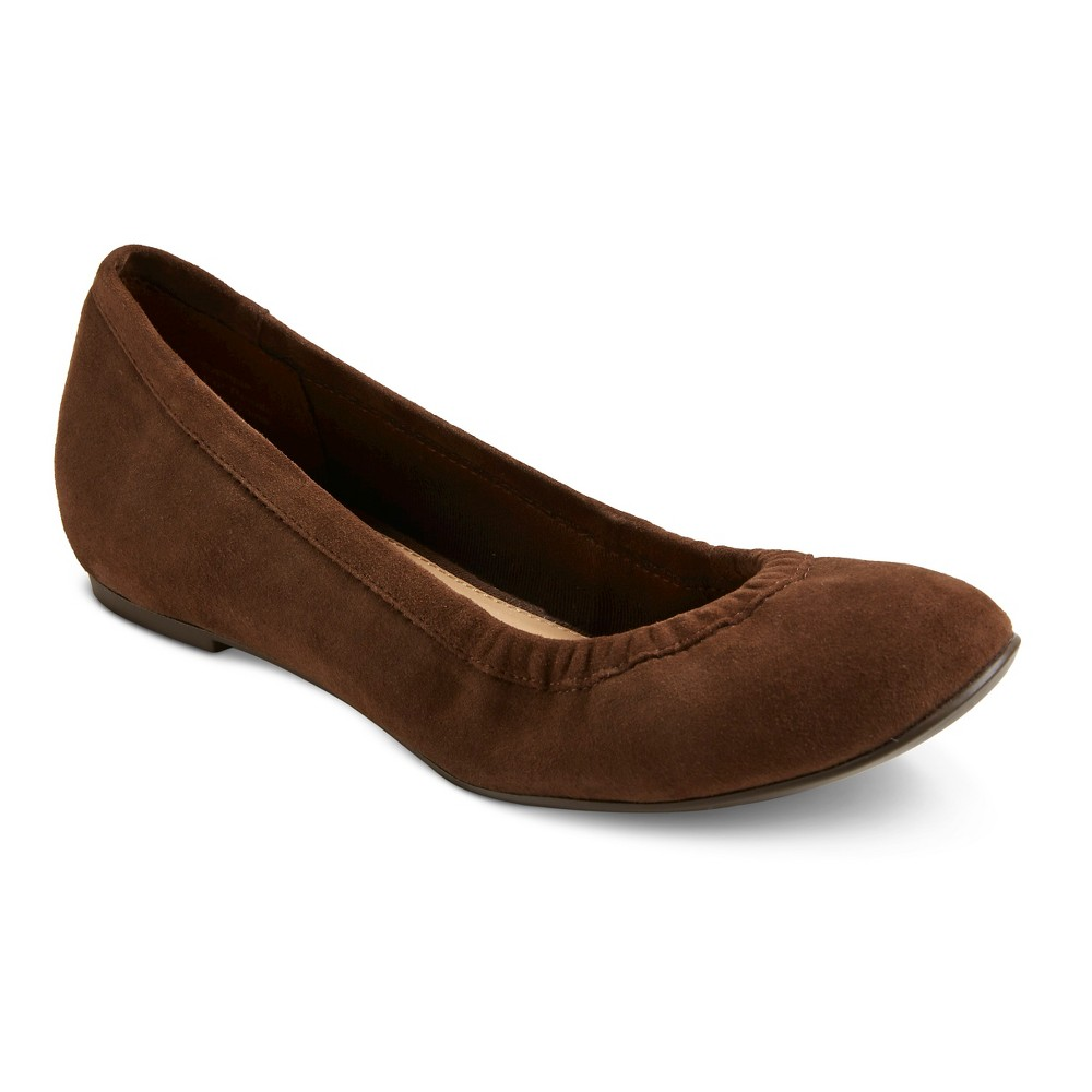 Womens Genuine 1976 Emma Suede Scrunch Flats - Cocoa (Brown) 8