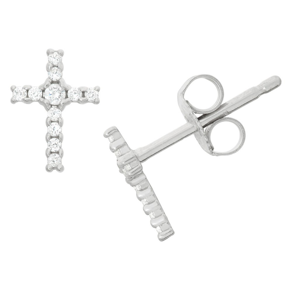 0.13 CT. T.W. Children's Cubic Zirconia Cross Earrings In Sterling Silver, Girl's