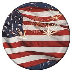 "8ct Fireworks Patriotic 7"" Paper Dessert Plates"