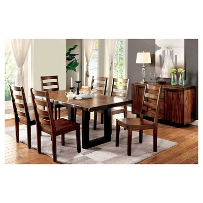 Sun U0026 Pine Taylor Rustic Two Tone Dining Table   Tobacco Oak