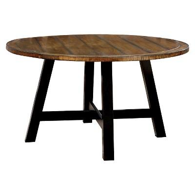 Sun U0026 Pine Carey Plank Style Round Dining Table   Antique Oak And Black