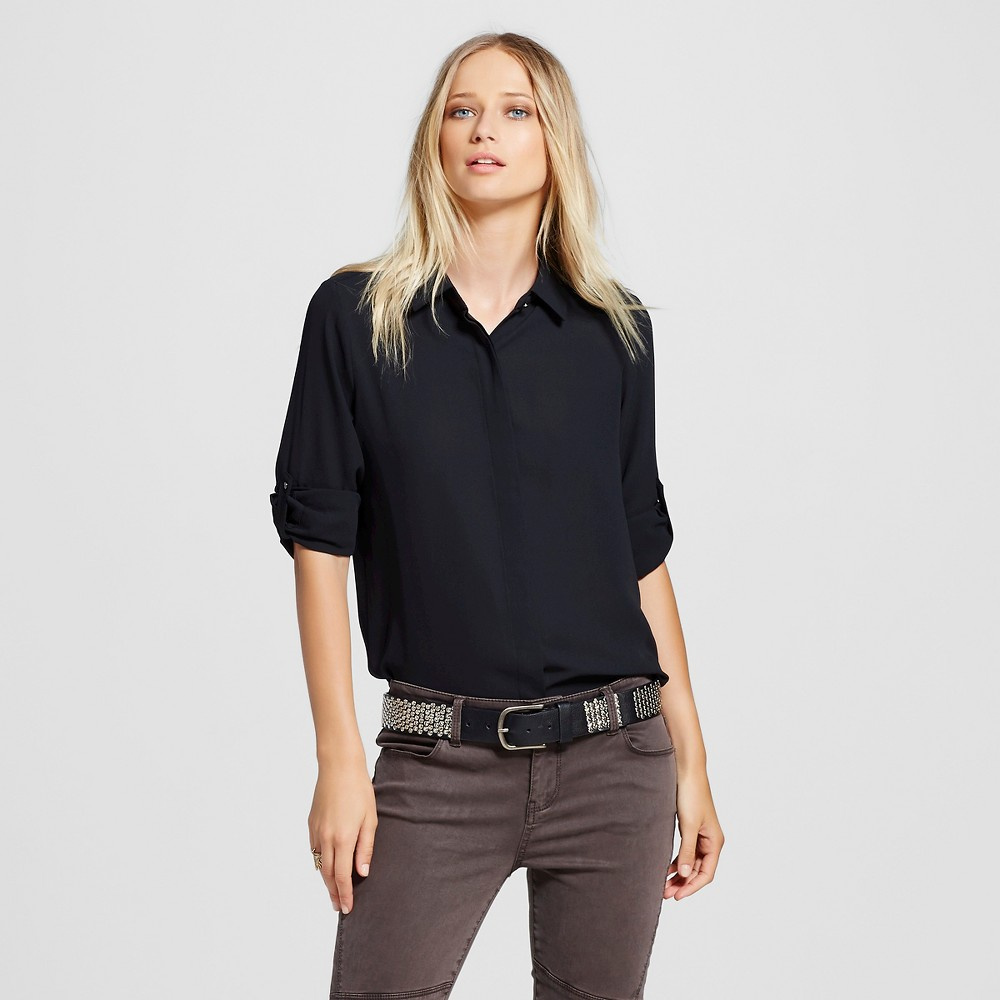 Womens Convertible Sleeve Top - Mossimo Black L