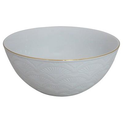 Embossed 10in Porcelain Serving Bowl White/Gold - Threshold™