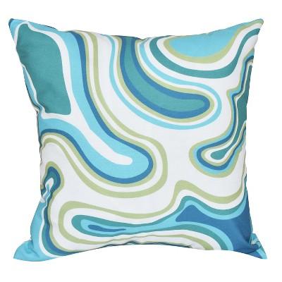 Teal Agate Geometric Print Throw Pillow (16 x16 )- E By Design