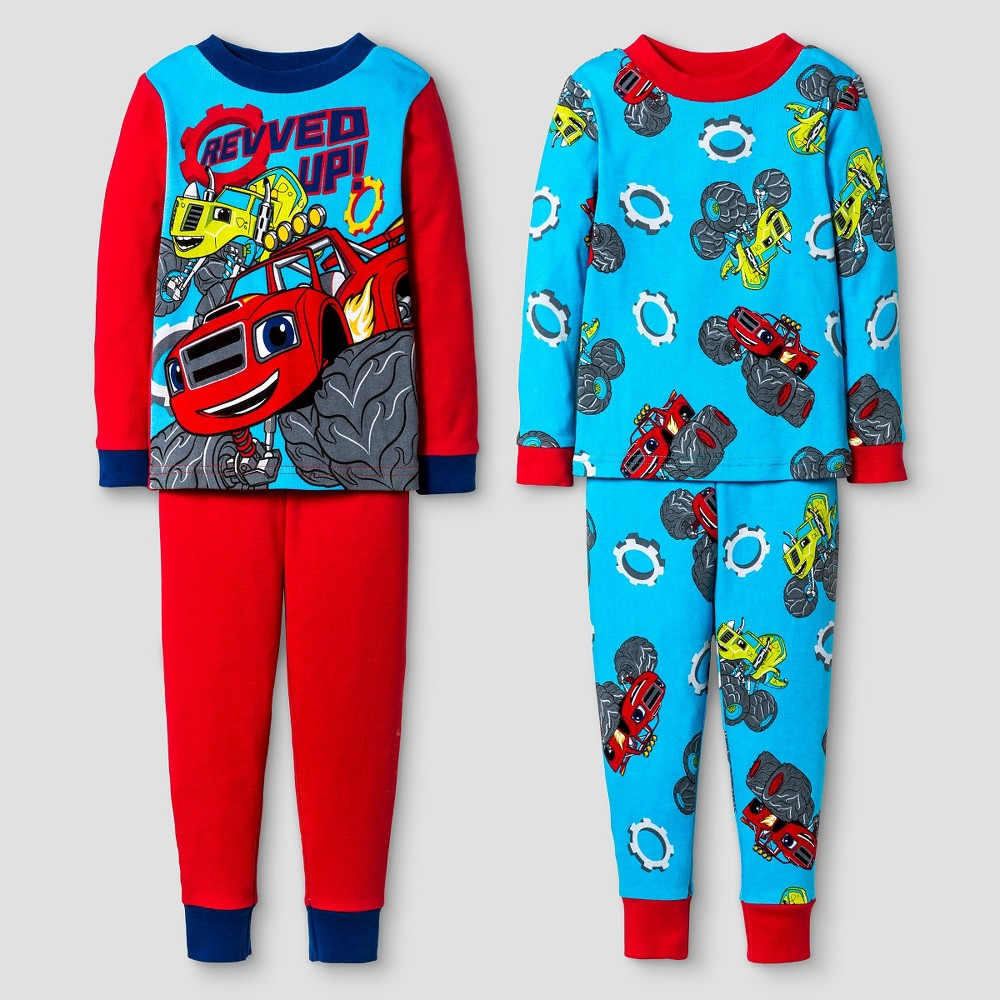 Toddler Boys Blaze and the Monster Machines 4-Piece Cotton Pajama Set Red, Size: 2T