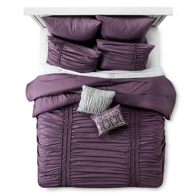 Maricopa Ruched Comforter Set (King)8-Piece - Purple