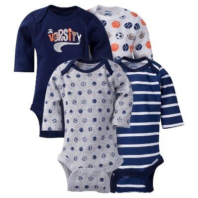 Gerber Baby Boys' 4pk Long Sleeve Sports Onesies - Blue 6-9M