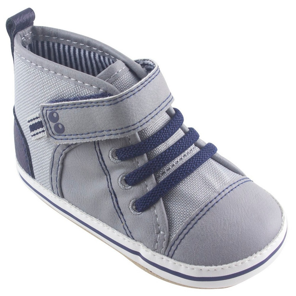 Baby Boys Surprize by Stride Rite Owen High Top Sneaker Soft Sole Shoes - Gray 0-6M