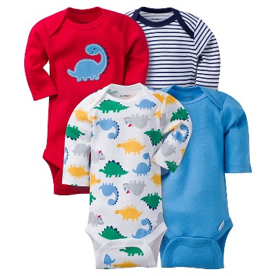 Baby Boys' 4 Pack Long Sleeve Dinosaur Onesies Red 0-3M - Gerber®