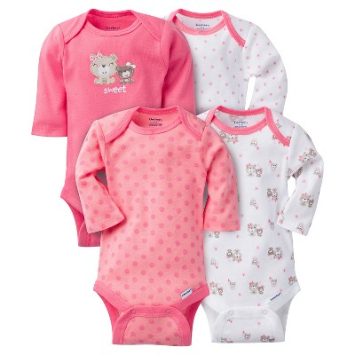 Gerber® Baby Girls' 4pk Long Sleeve Bear Onesies - Pink 0-3M
