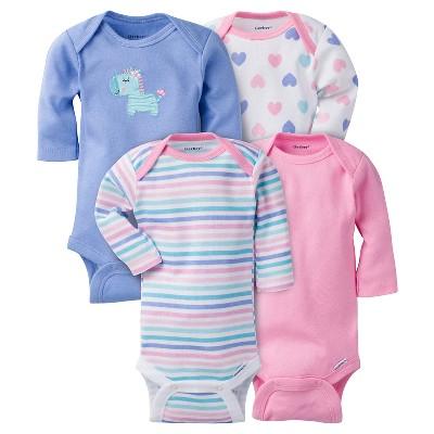 Gerber® Baby Girls' 4pk Long Sleeve Zebra Onesies - Purple 12M