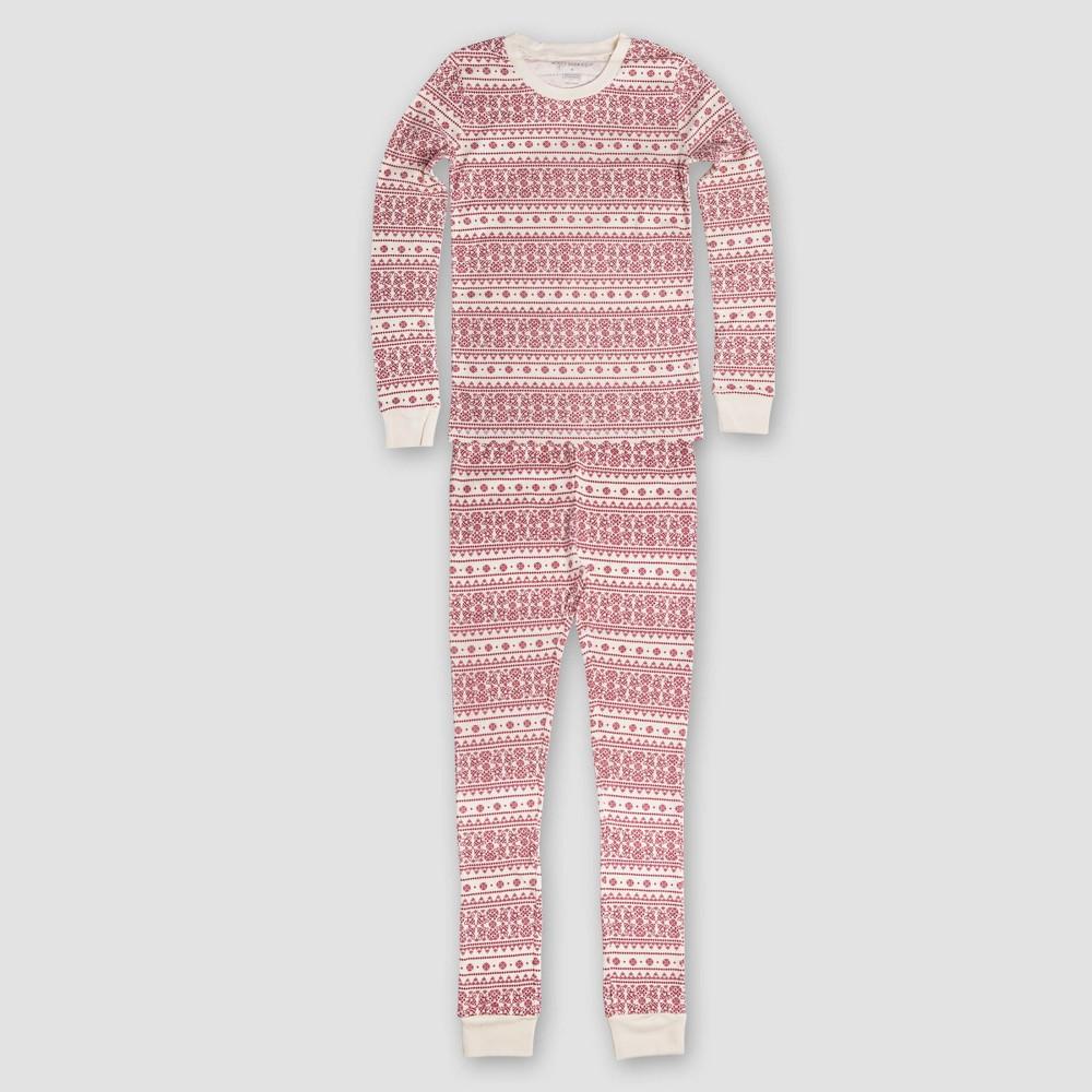 Burts Bees Baby Kids Organic Cotton Fair Isle Pajamas - Ivory M, Kids Unisex, White